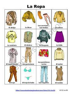vocabulario de ropa en espaol  Buscar con Google  vocabulario