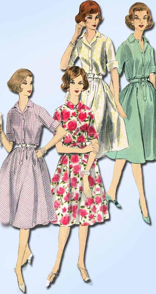 1960s Vintage Vogue Sewing Pattern 9972 Uncut Misses Shirtwaist ...