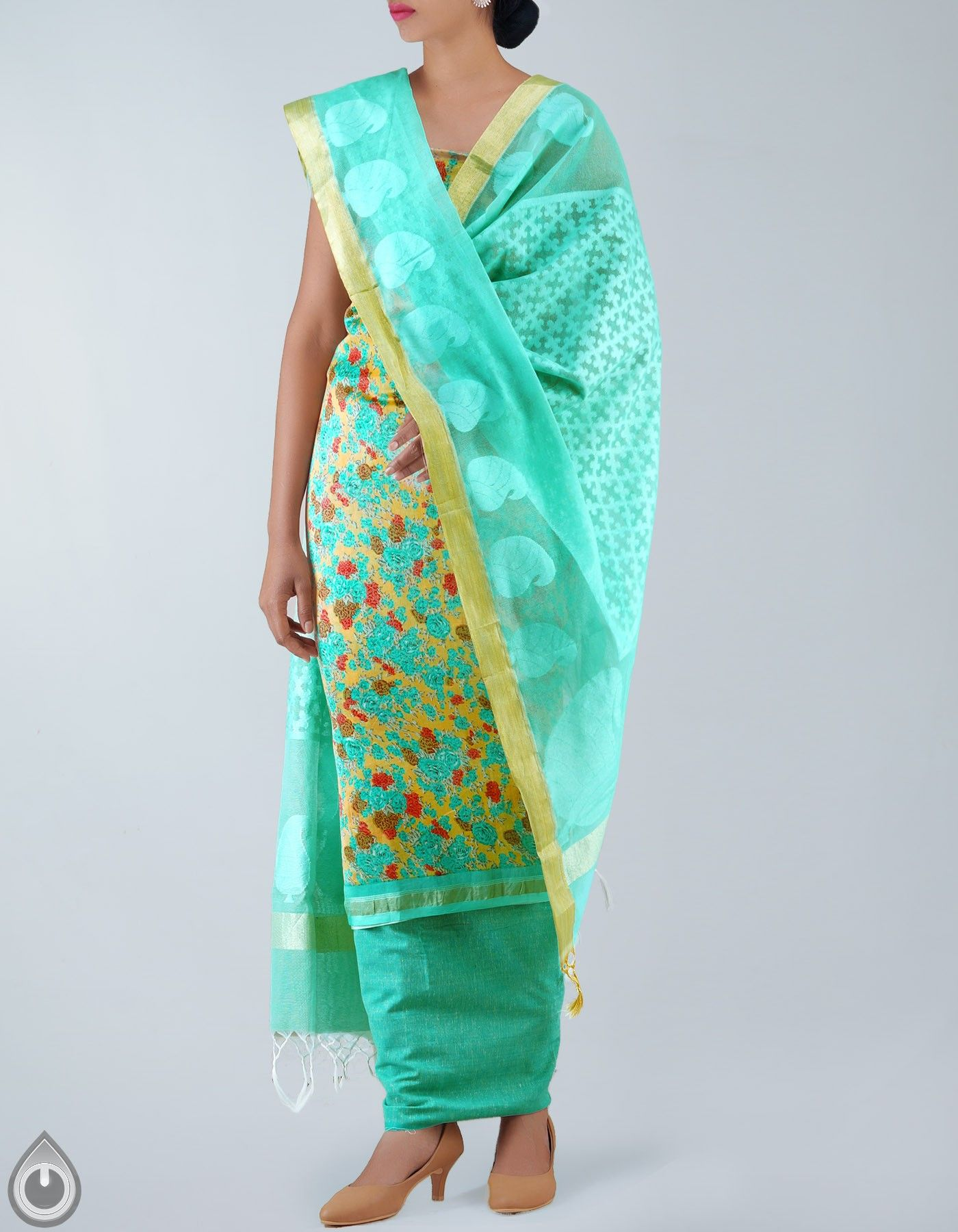 unstitched Yellow and Green Floral Chanderi Sico salwar Kameez,It ...
