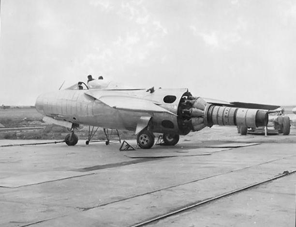 An FMA IAe 33 Pulqui II without tail section, showing its Rolls-Royce Nene II turbojet