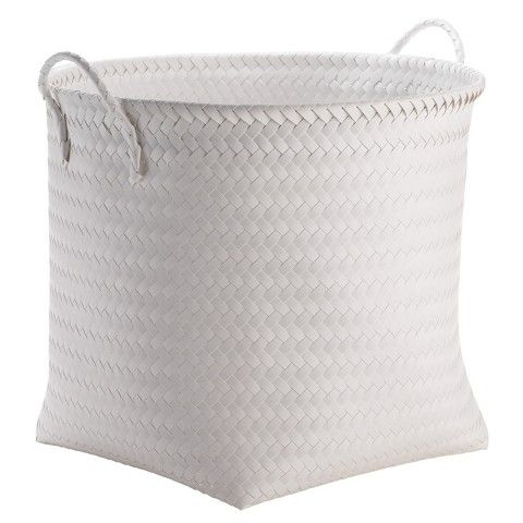 High Quality Large Round Woven Plastic Storage Basket   White   Room Essentials™