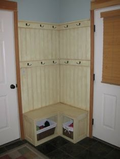 Corner Fix For A Small Mudroom Built In Bench With Basket