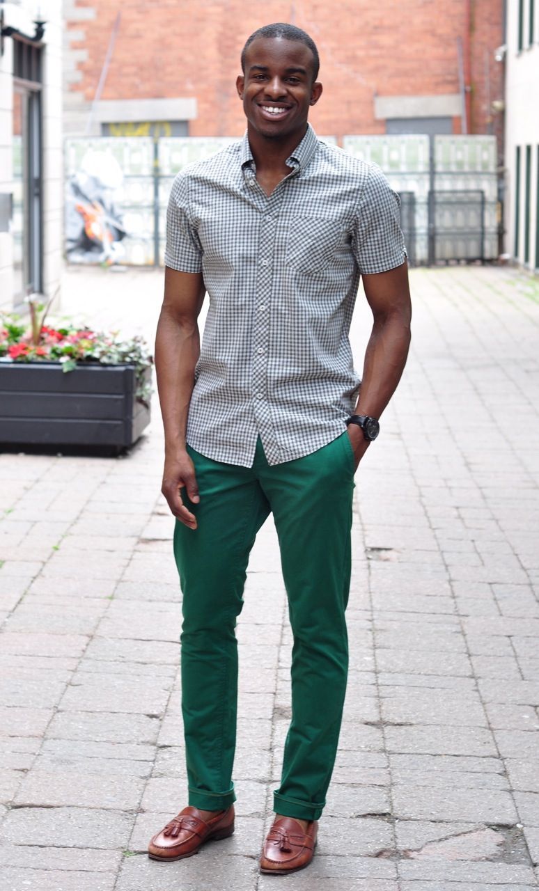 Dark Skin with green pants | Mens outfits, Buy fashion