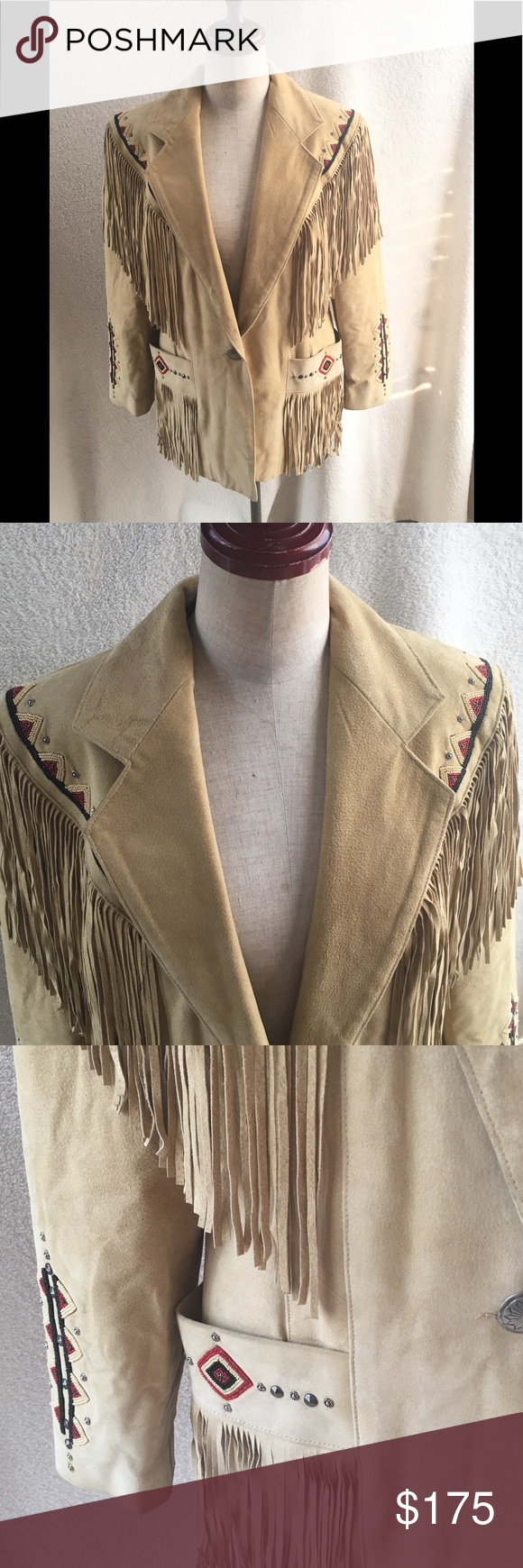 North American Frontier Fringe Leather Jacket Great