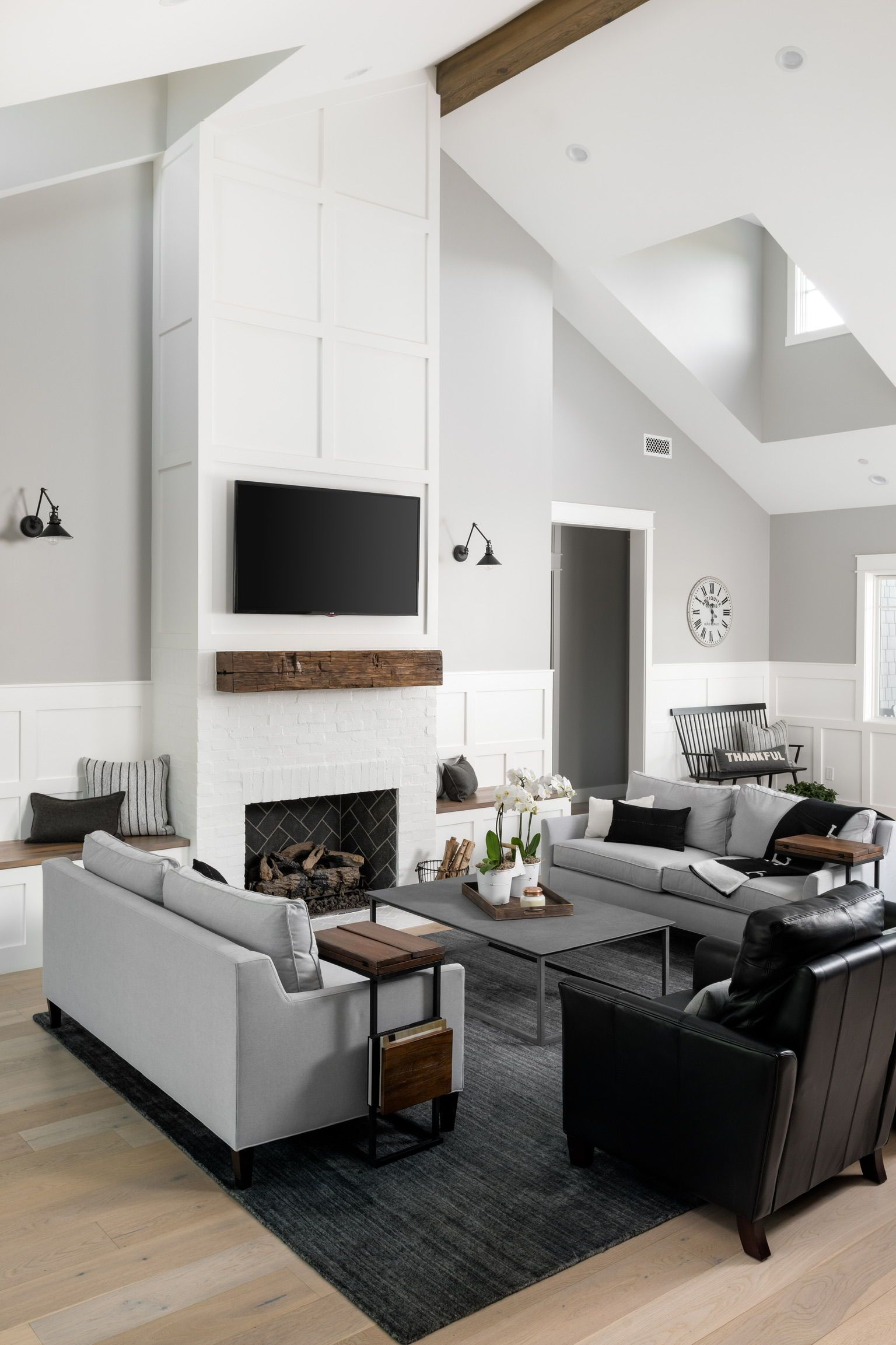 Living Room Fireplace Wall Ideas In 2020 Beams Living Room Vaulted Living Rooms Vaulted Ceiling Living Room