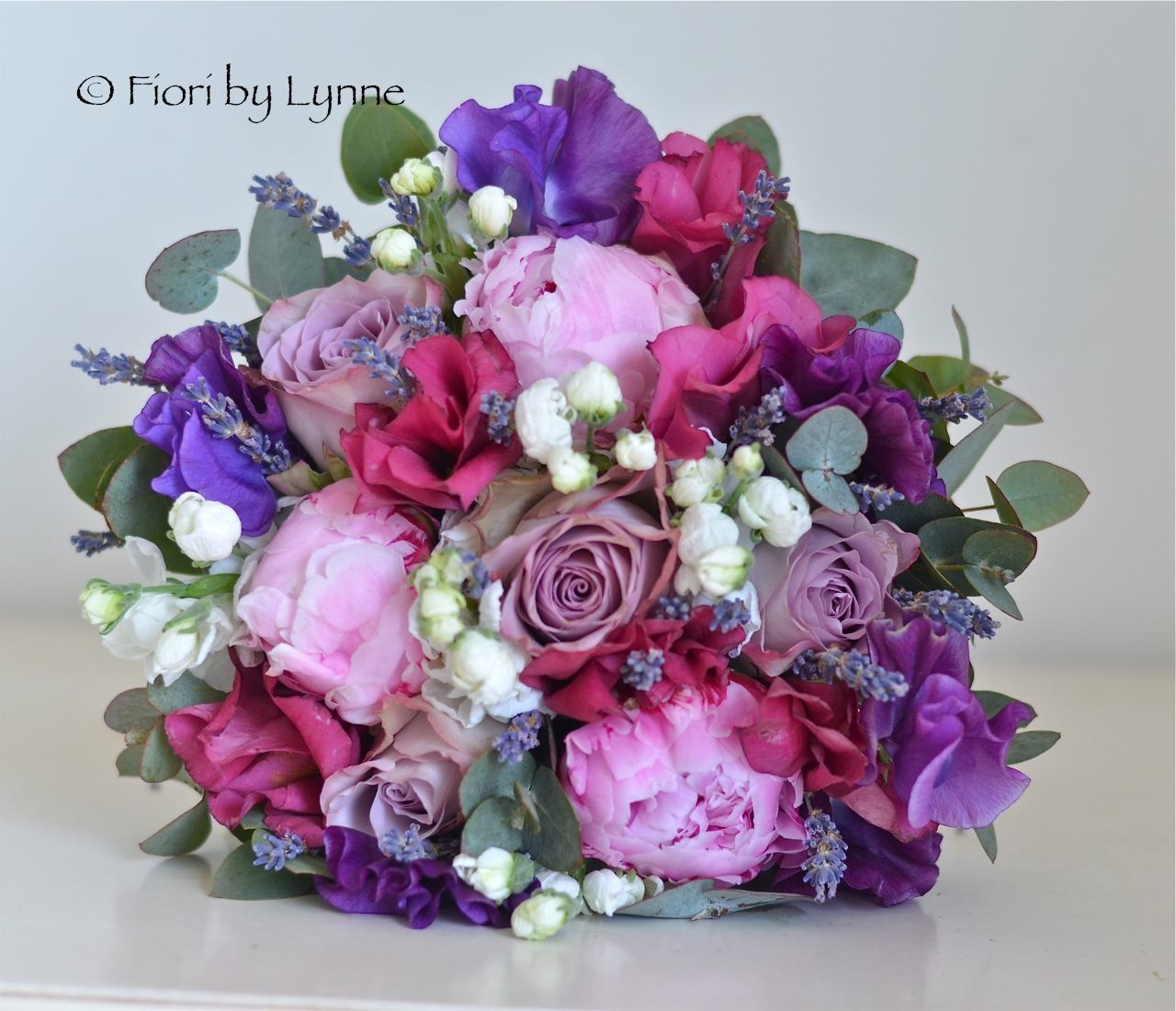 Hand Tied Bridal Bouquet Purple Lilac And Pink Wedding Flowers Peonies Roses