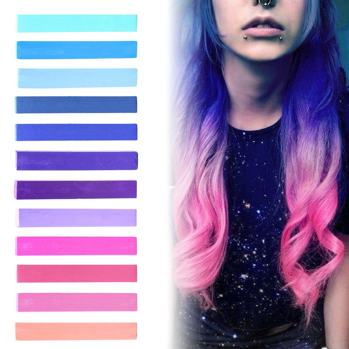 Galaxy hair blue purple lilac u pink pastel ombre by hairchalkco