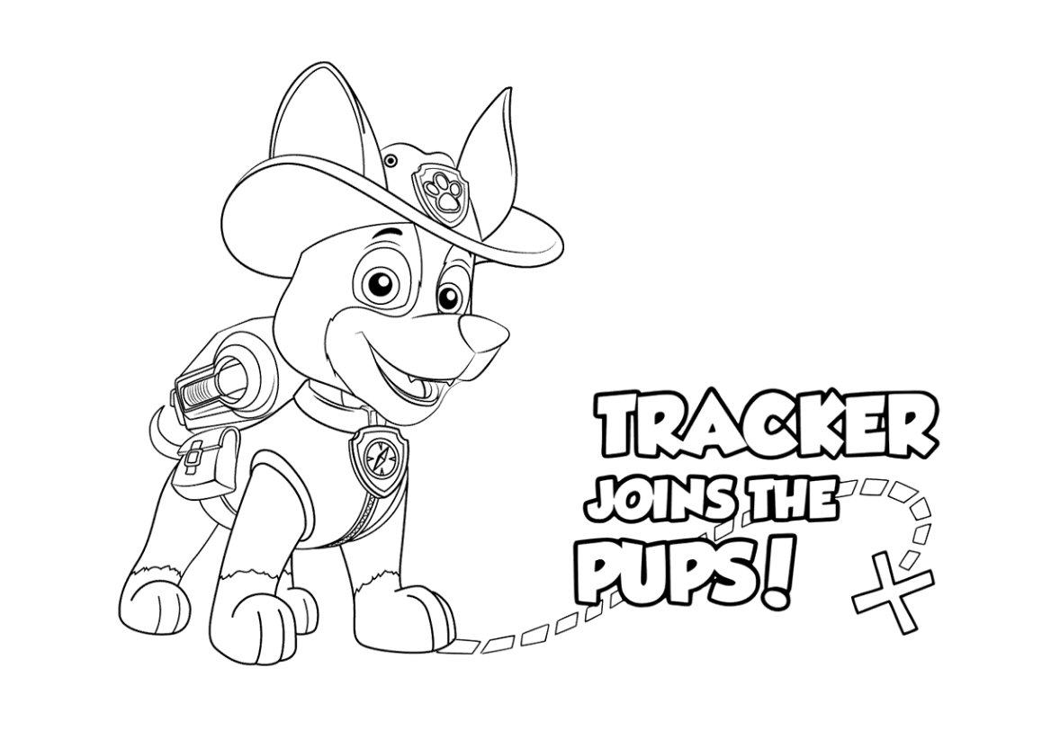 Paw Patrol Tracker Joins The Pups Coloring Page Paw Patrol Party