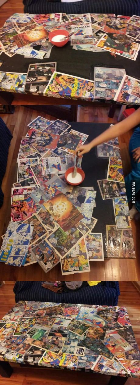 diy comic book desk. Bought A Black Wooden Table And Decided To Make It My Own. What Do You Guys Think?\u003c--This Could Be Really Cool With Plain Book Text Pages Or Something Too. Diy Comic Desk