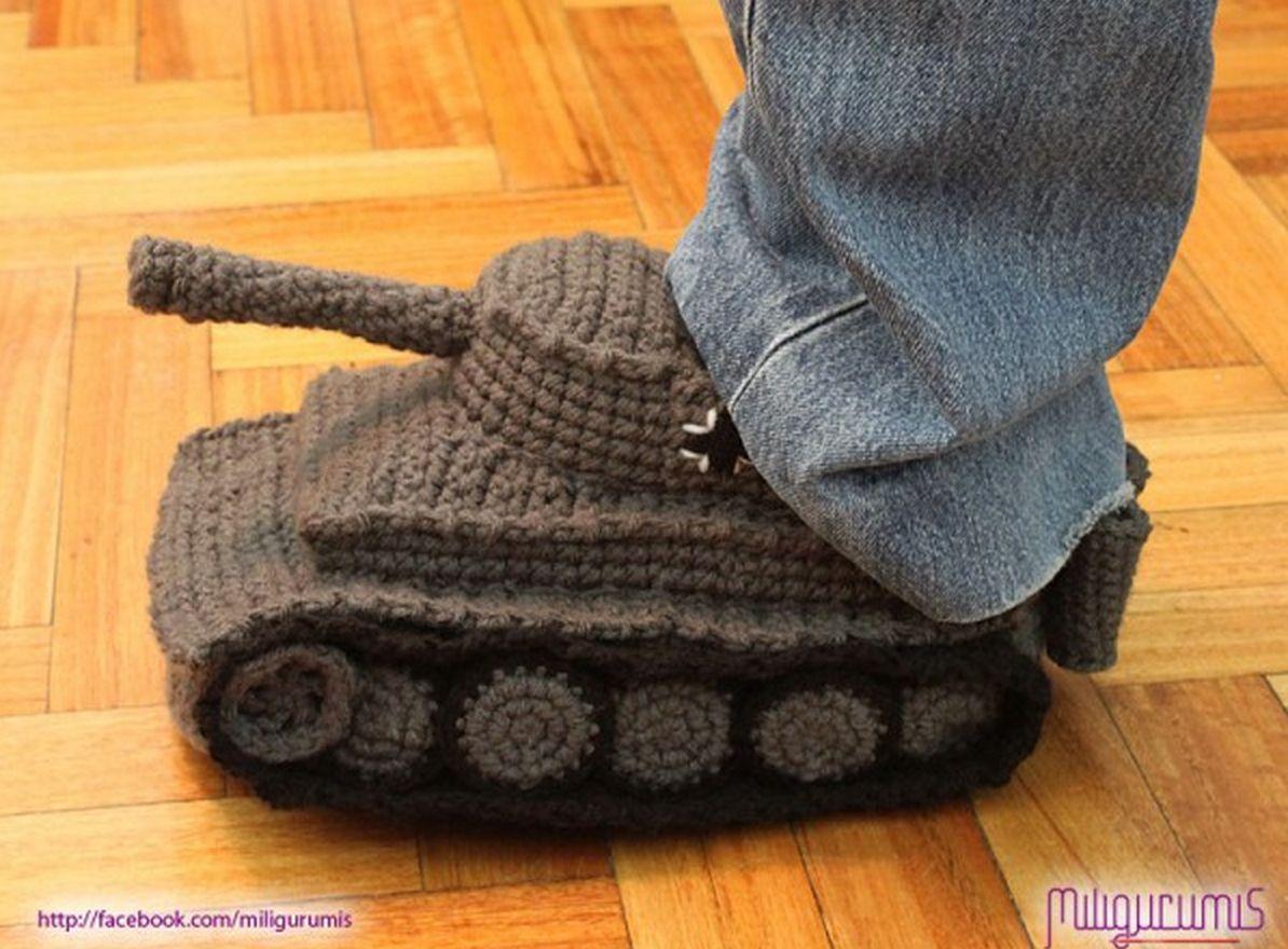 Army Tank Crochet Slippers Panzer Pattern   Futter und Häkeln