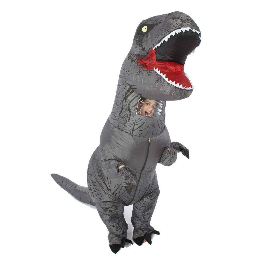 Inflatable T-Rex Dinosaur Costume Adult Fancy Dress Halloween Blow Up Suit-Gray