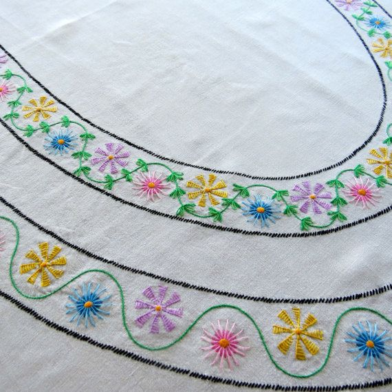 Vintage linen tablecloth embroidered flowers floral by