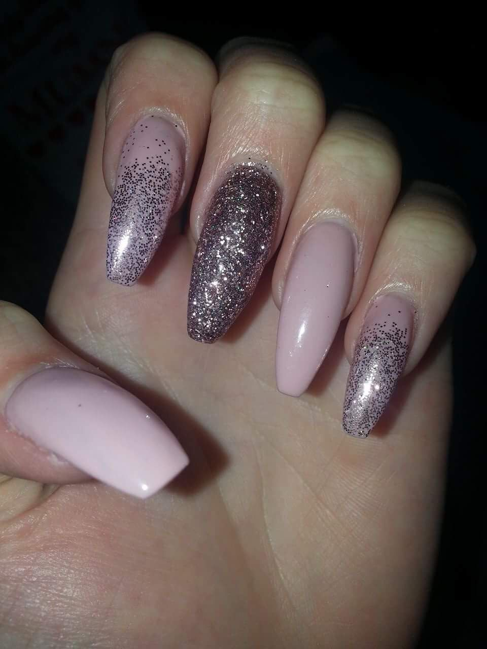 Pink Nude Acrylic Nails With Magpie Glitter Love A Gradient