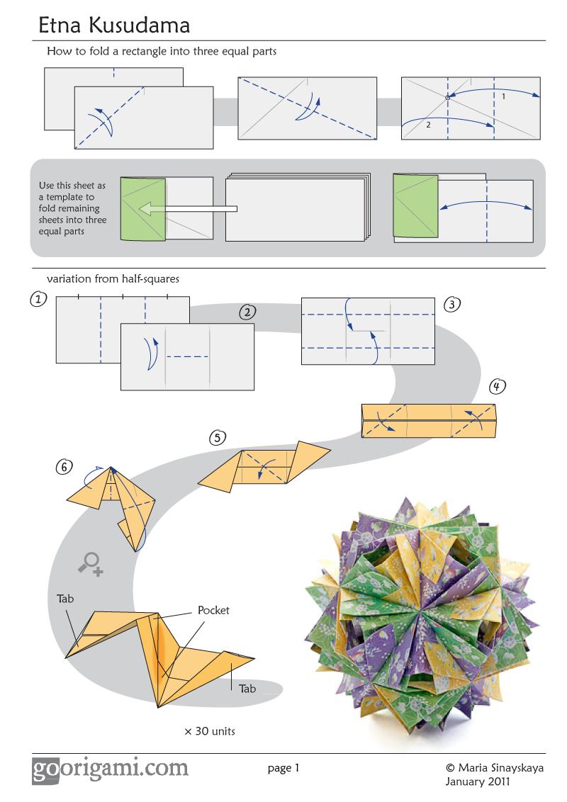 Etna Kusudama By Maria Sinayskaya Diagram Go Origami Origami