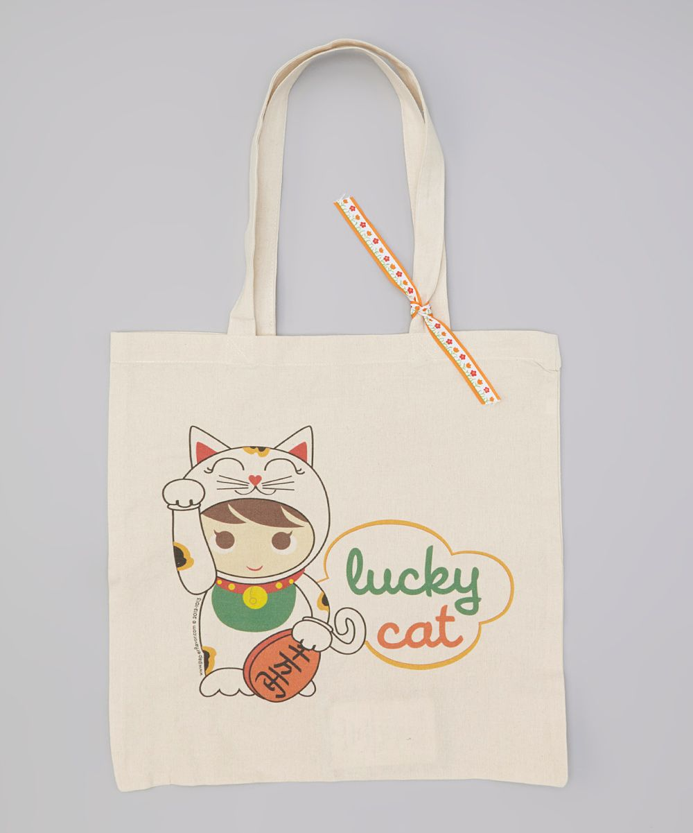 Canvas 'Lucky Cat' Tote