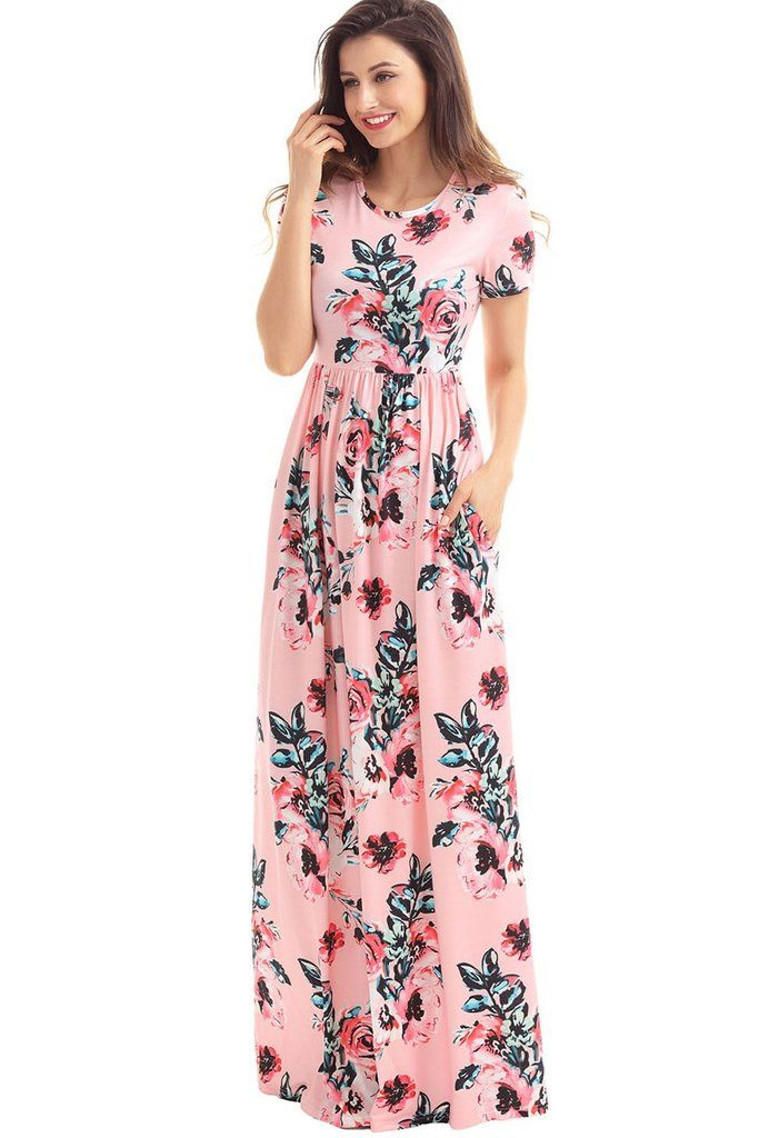 Pocket Design Short Sleeve Pink Floral Maxi Dress | Maxi faldas ...