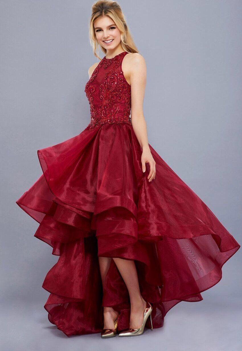 f98462742c2 Burgundy Hi-Lo Dress with High Neckline in 2019
