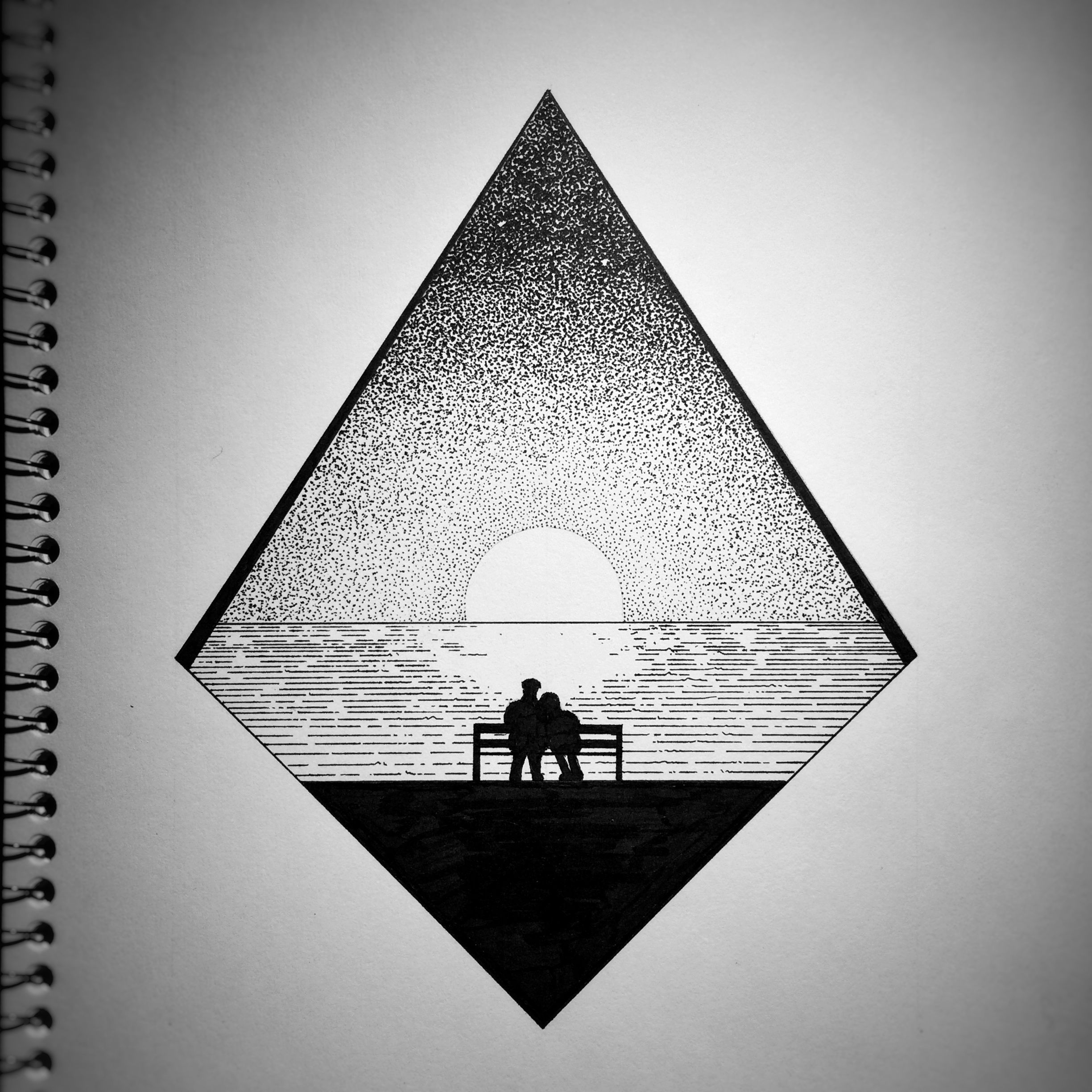 Reunited Pen Ink Drawing Of Sunset Reflection Over