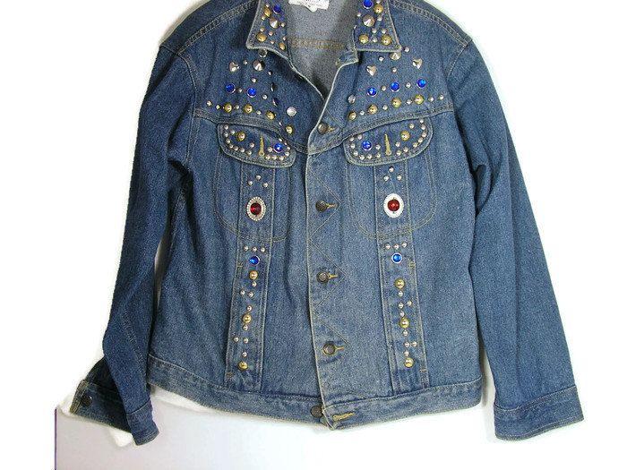 693bd2320acc1 Women s Vintage Denim Jackets Vintage Retro Rhinestone Denim Jacket  Embellished Denim Jacket Vtg Denim Jacket 80 s Over-Sized Denim Jacket by  ...