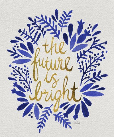 The Future is Bright Navy & Gold Art Print Word art
