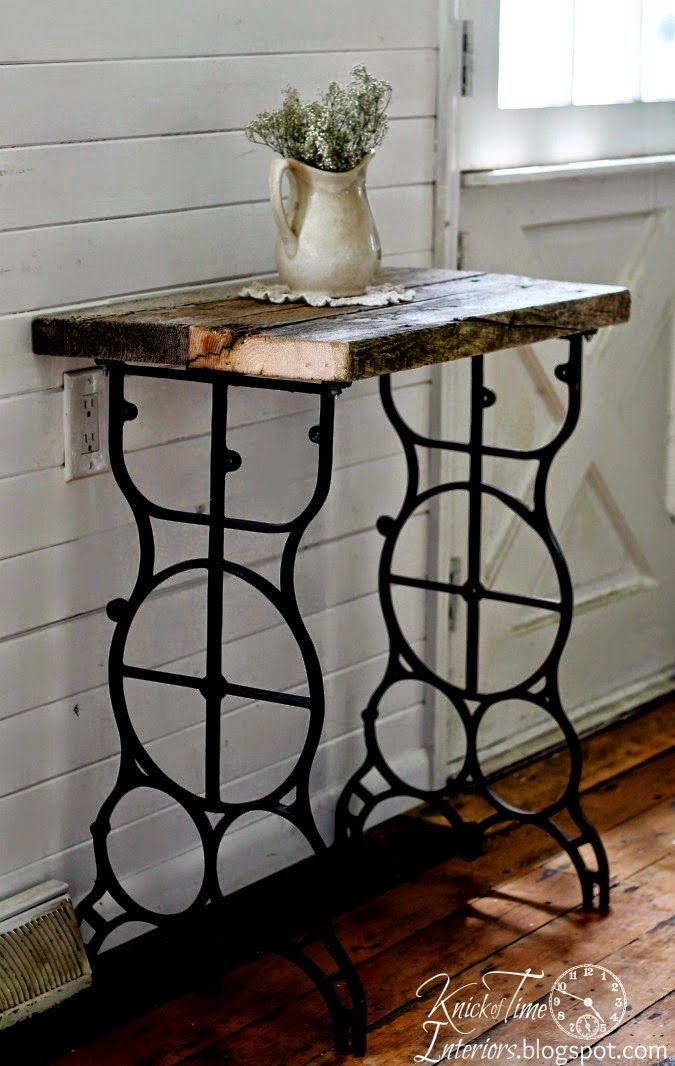 Sewing Machine Leg Side Table By Knick Of Time Interiors Featured On Ilovethatjunk