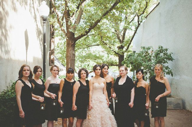 bridesmaids in black pop with the bride in pink - so pretty!