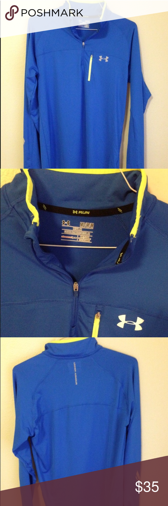PRICE SLASH ⚡️⚡️Under Armour Half Zip Jacket This is a man's jacket but as a woman, I wore it. I like baggy stuff. Reflective detailing on front, back and sleeve. Great for night running it walking. Has a small pocket over the chest, not big enough for a phone but rather a house key. Under Armour Jackets & Coats
