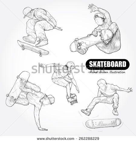 Skateboarding Drawing Vector Con Imagenes Skaters Dibujos