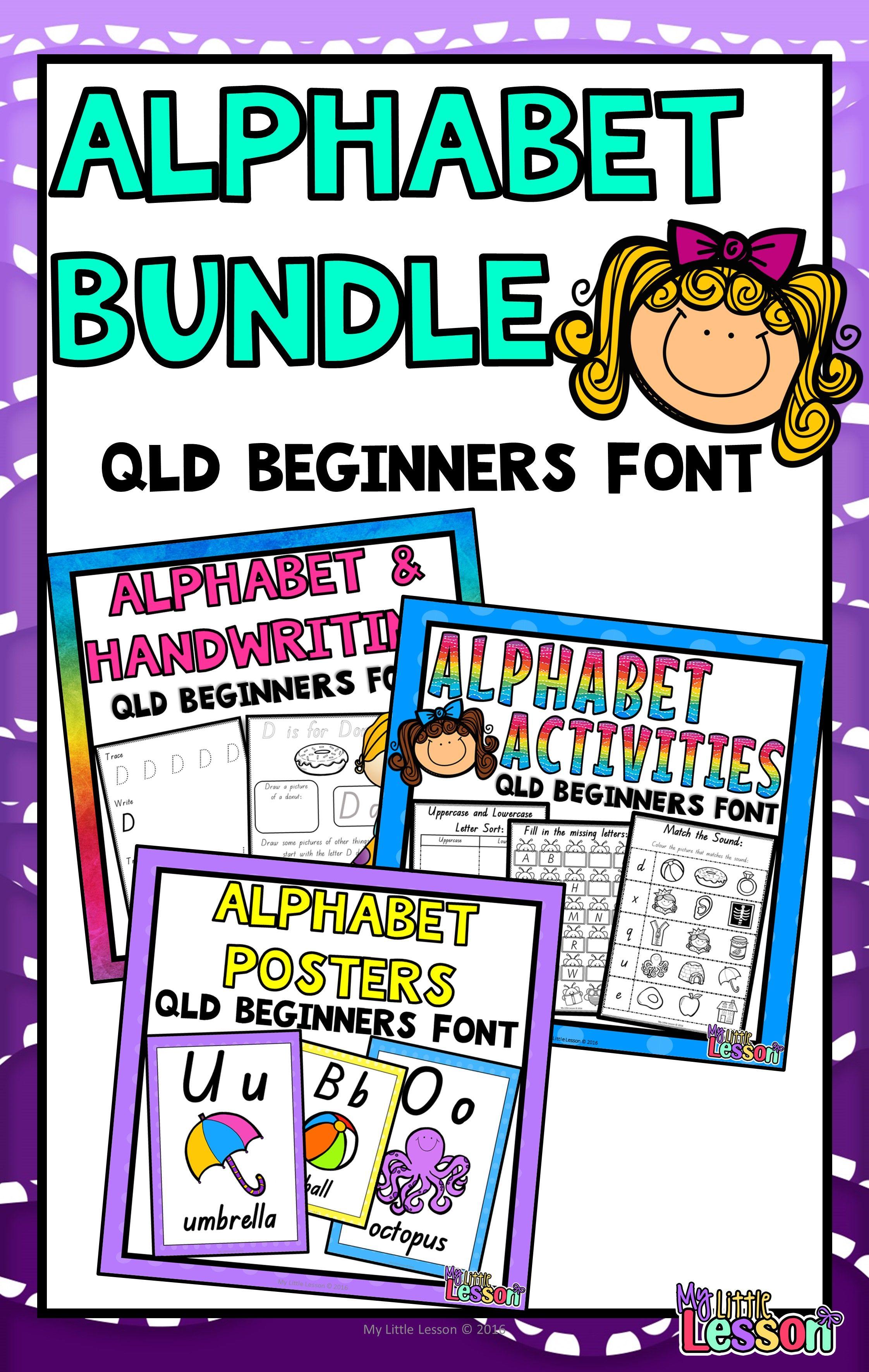 Alphabet Bundle Qld Beginners Font Worksheets Posters