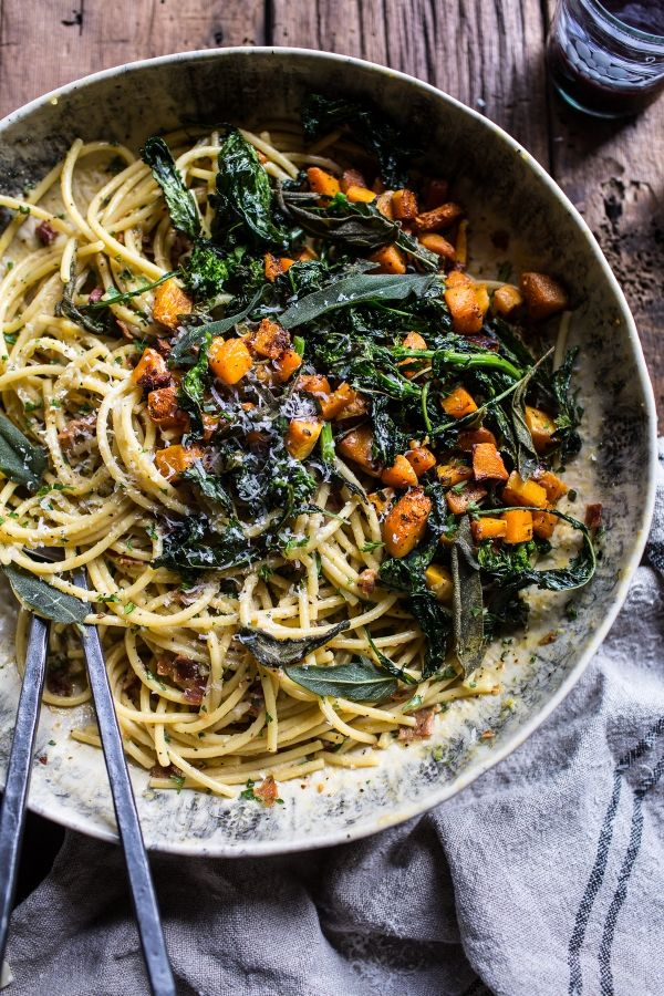 Fall Pasta Dinner: Winter Squash Carbonara With Broccoli Rabe And Sage