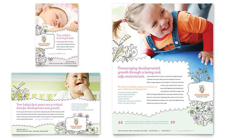 Cute babysitting business cards and flyers templates, with - business pamphlet templates