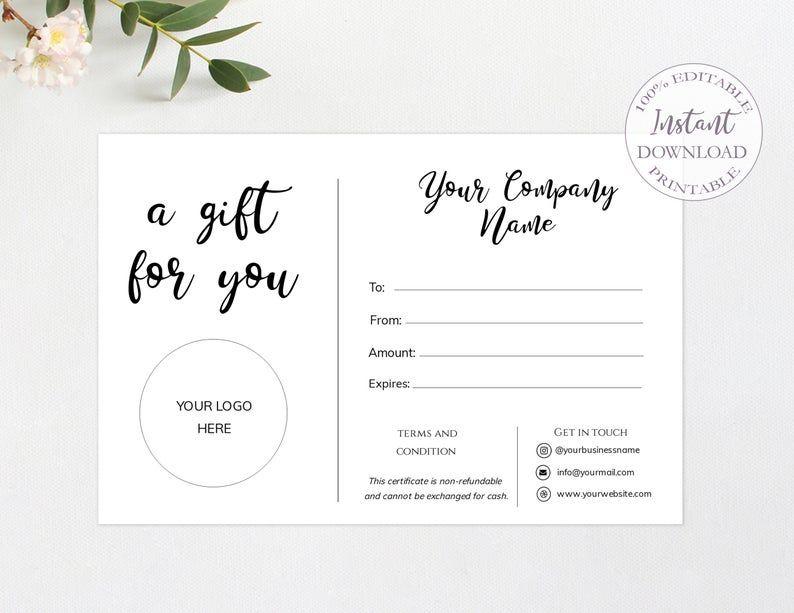 Rustic Gift Card Printableetsy Gift Card For Customerssmall Etsy Kartu Nama Bisnis Kartu Nama Kartu