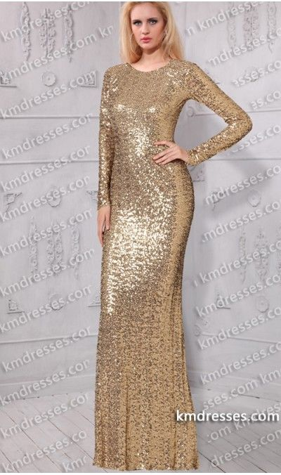 Gold sequin prom dress long