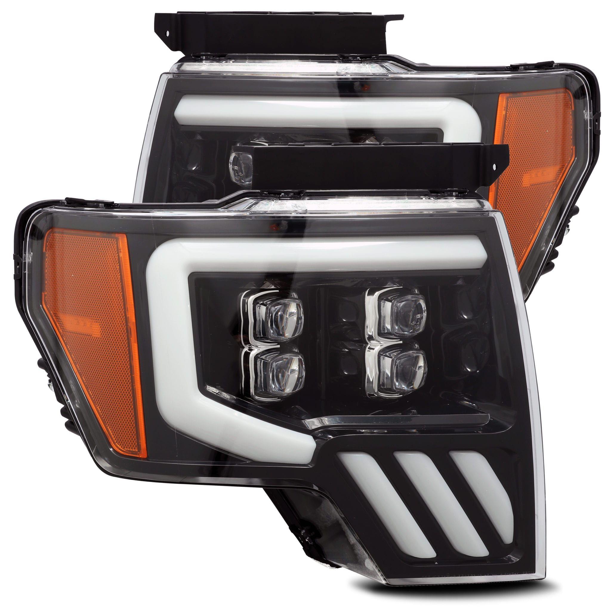 Sinister Black 2009 2014 Ford F150 Drl Led Angel Eye Headlights Plug Play Ebay Ford F150 2014 Ford F150 Black Headlights