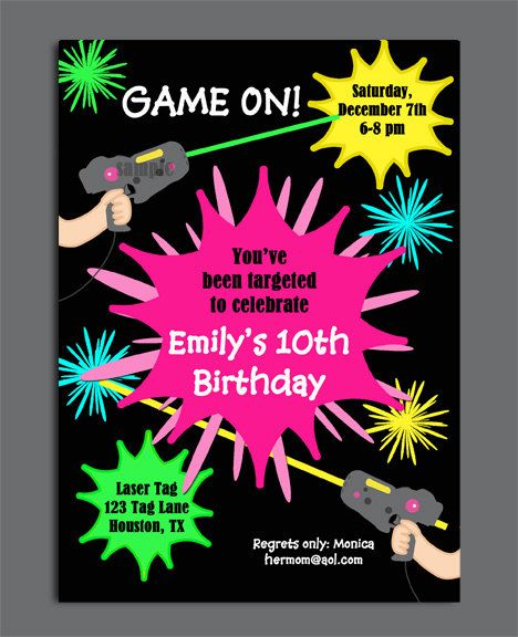 Laser Tag Girl Birthday Invitation Printable Or Printed With FREE SHIPPING