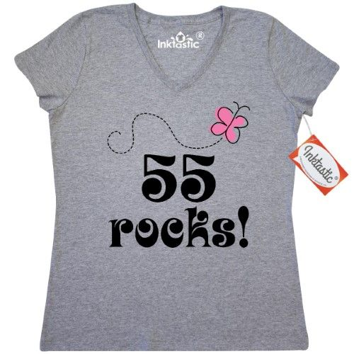 Inktastic 55th Birthday 55 Rocks Gift Womens V Neck T Shirt Year Old Special Occasions Im Party Cute Years Turning Adult Funny Humor Clothing Apparel Tees