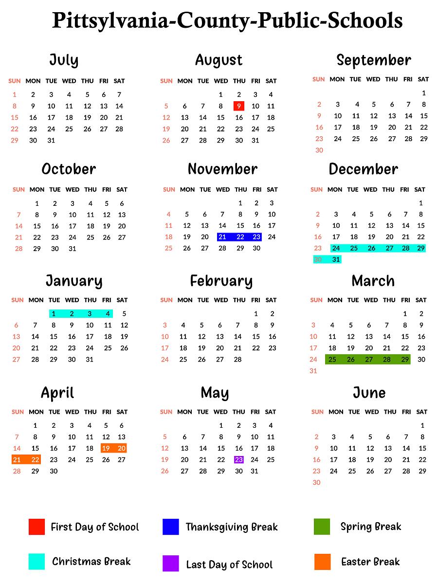 Pittsylvania County School Calendar School calendar