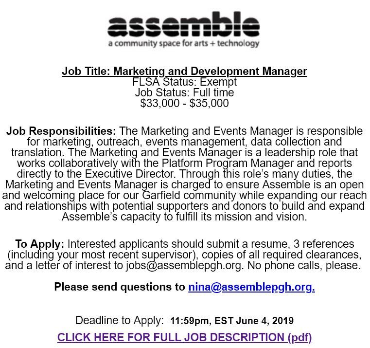 Assemble Pittsburgh Job Opening Marketing and