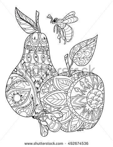 Honey Apple And Pear Doodle And Bees Hand Drawn Vector Illustration Sketch For Tattoo Adult Coloring Anti Stress Book Zen Raskraski Konturnye Risunki Risunki