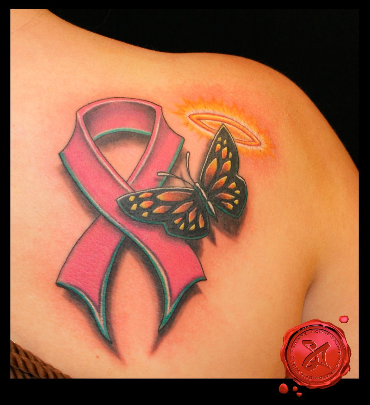 breast cancer ribbon with butterfly and halo i 39 m guessing this is a memorial tattoo either way. Black Bedroom Furniture Sets. Home Design Ideas