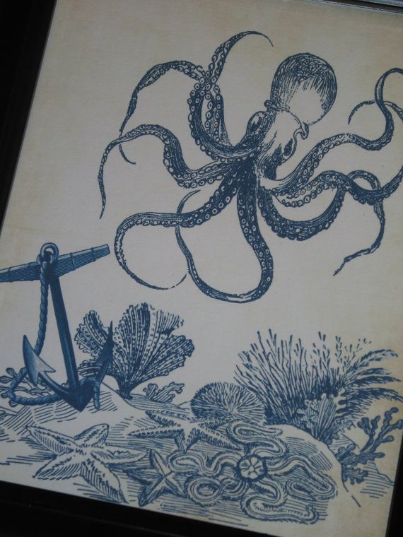 Sea Floor Drawing : floor, drawing, Original, Octopus, Anchor, Floor, Print, Bathroom, Ocean, Nautical, Origin…, Print,
