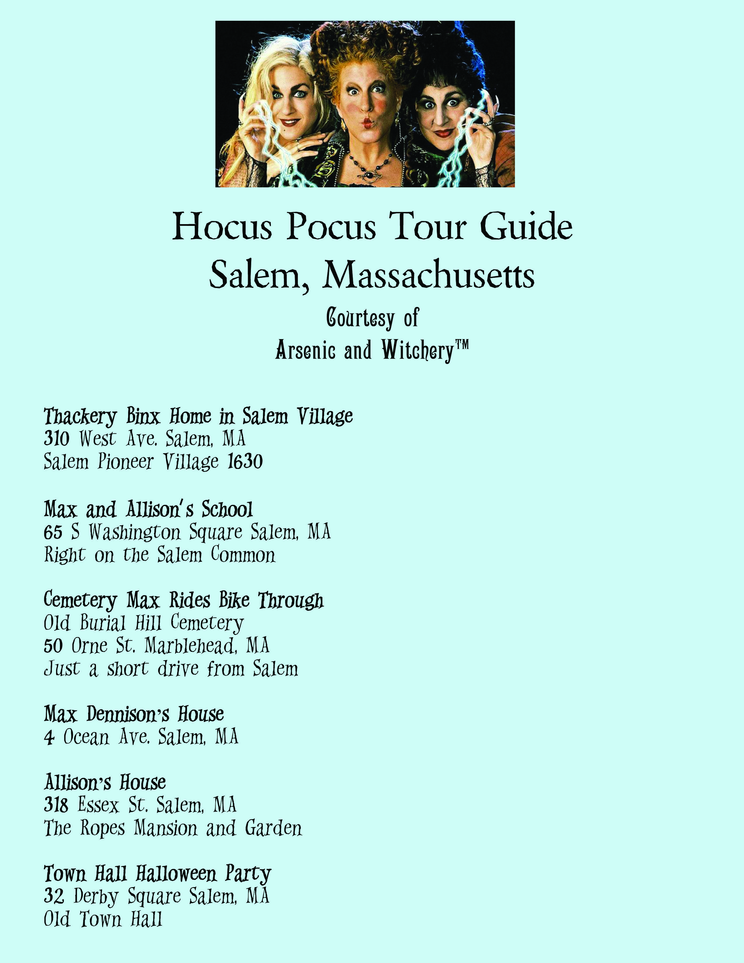 Free Hocus Pocus Movie Location Guide Salem, MA ***Dennison house is actually 3 Ocean Dr***