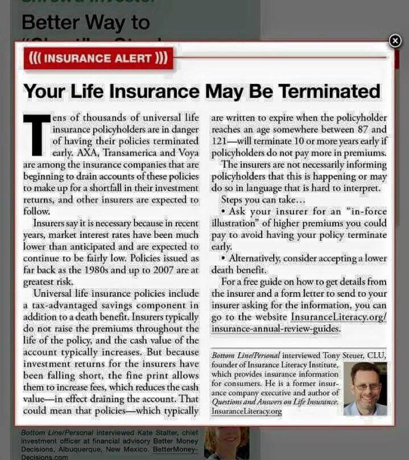 I HAD this sort of life insurance! BEWARE‼ if ur life