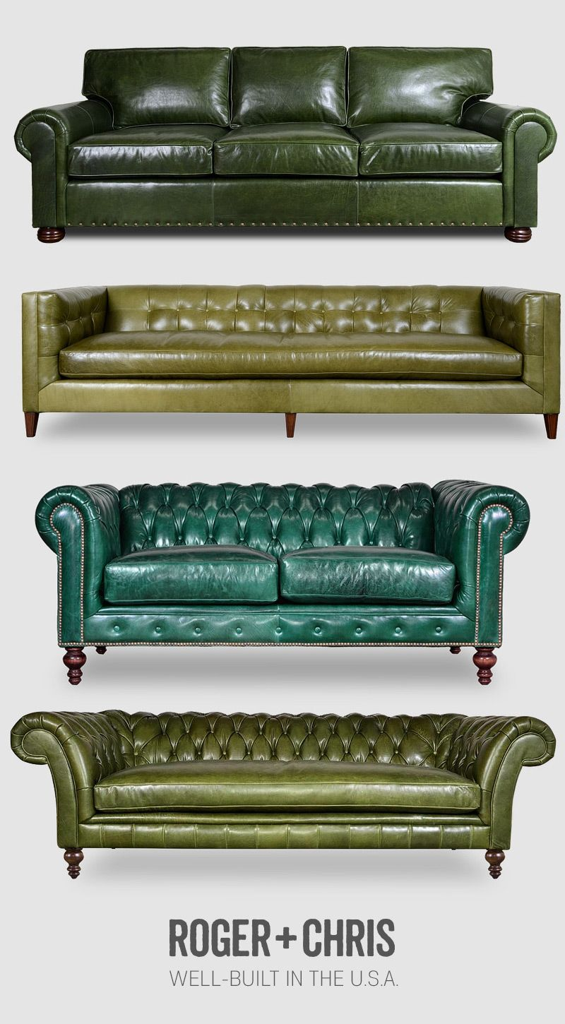 Green leather sofas, green leather Chesterfields, green ...
