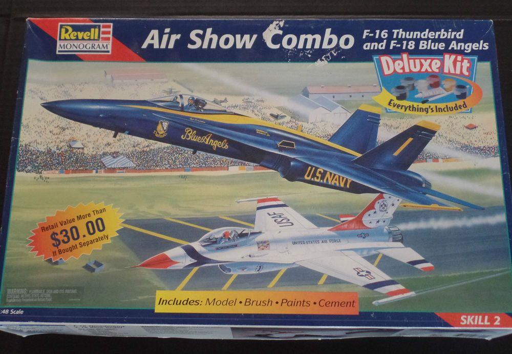 Vintage Revelle Air Show Combo Model F16 Thunderbird F18 Blue Angels Sealed #Revell