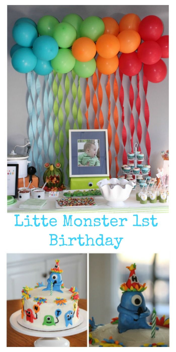 Little Monster Themed 1st Birthday Party With Ballon And Streamer Backdrop Topper Cake Cupcakes