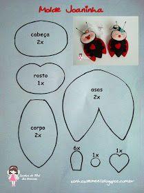 Sonhos de Mel 'ੴ - Crafts em feltro e tecido: °°Molde e Pap de Joaninha...