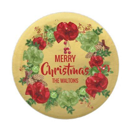 Personalized red gold merry christmas wreath paper plate merry personalized red gold merry christmas wreath paper plate merry christmas diy xmas present gift idea negle Choice Image