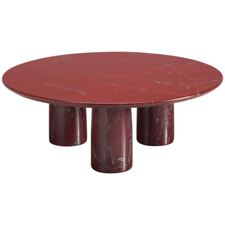 cassina red limestone side table