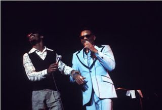 "Stevie Wonder and Ray Charles, prob. at ""Out Of Sight Night"" a benefit concert at the Lincoln Philharmonic Hall in New York (also announced by Variety with Al Hibbler, Roland Kirk, Jose Feliciano and George Shearing), a benefit for Choose, an organization raising funds to promote jobs for the blind (April 25, 1973)."